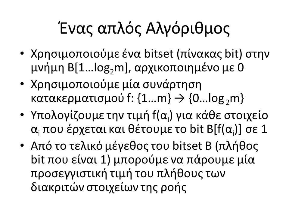 Ένας απλός Αλγόριθμος Χρησιμοποιούμε ένα bitset (πίνακας bit) στην μνήμη Β[1…log2m], αρχικοποιημένο με 0.